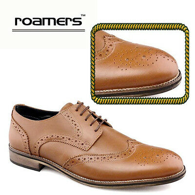 Romaers Mens Brown Leather Oxford Brogues Smart Casual Shoes Size UK 12