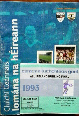 Kilkenny V Galway 5/9/1993 Gaa All Ireland Hurling Final + Ticket