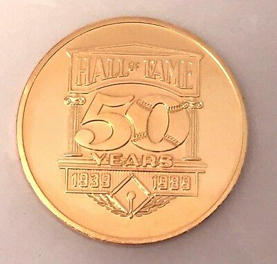 1989 Baseball Hall of Fame Coin 50th Anniversary Coin 24K gold plate