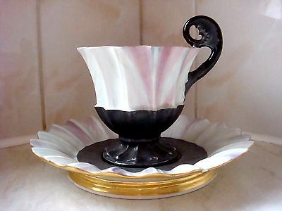 Vienna Porcelain Very Unusual Abalone Shell Glossy Finish Cup & Saucer C1820's