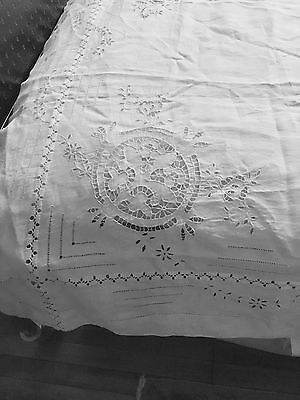 Antique Linen Hand Made Lace Full + Bed Sheet Needle Open White Work Embroidery