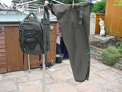Gore Text Chest Waders large adjustable and Bag Carp Sea Coarse Fly Fishing