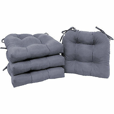 Chair Pads Set of 4 with Ties Cushion Seat Support Kitchen Sofa Patio Grey
