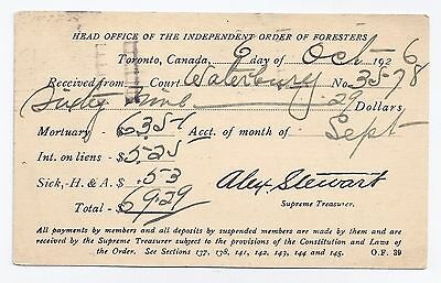 Independent Order of Foresters receipt - George Hynes, Waterbury, CT, 1926