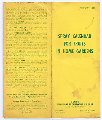 Spray Calendar for Fruits in Home Gardens, Ontario Agriculture Ministry 1968