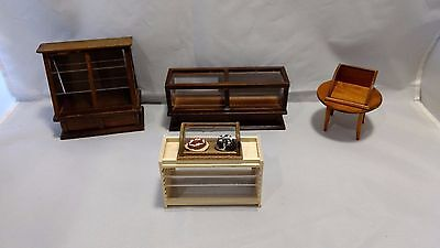 Wood Doll House Furniture (6) pc Store Displays Miniature 1:12 Scale Vintage