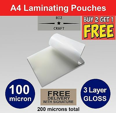 A4 Laminating Pouches 100 micron Gloss. 3 layer high quality pack (100 pack)