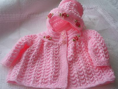 "Babies pink mattine hand  knitted  coat bonnet for 0-3 months or 20""-24"" reborns"
