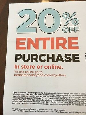 Bed Bath And Beyond Coupon 20% Off ENTIRE Purchase Expires 10/2/17
