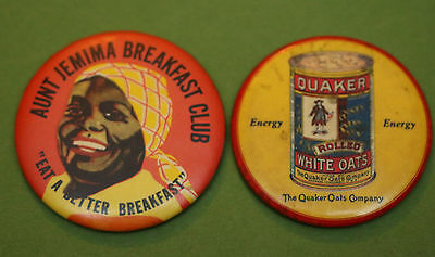 Aunt Jemima Breakfast & Quaker Oats Advertising Mirror + watch fob & Money Clip