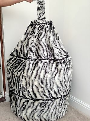 COVER ONLY ADULT BLACK & WHITE TIGER BEAN BAG FAUX FUR LARGE 6cft SIZE NEW