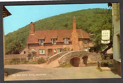 """THE PACK HORSE BRIDGE,  ALLERFORD"" Postcard SOMERSET"