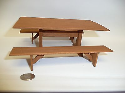 "Miniature Dollhouse 1:12 Scale Artisan Made 6"" Wood Table & 2 Benches by R Purdy"