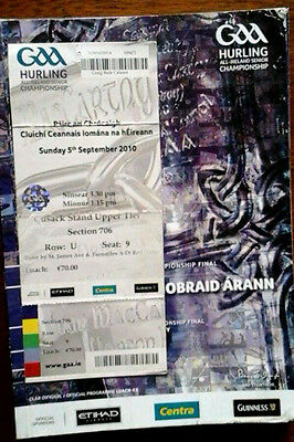 Kilkenny V Tipperary 5/9/2010 Gaa All Ireland Hurling Final + Ticket
