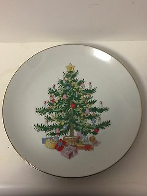 "Lefton japan 1064 Vintage Christmas Tree Plate 8"" Cookies Candy"