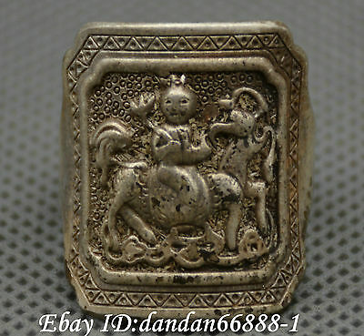 Collect China old Miao silver carve beautiful woman ride horse auspicious ring