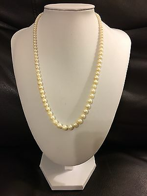 "Pearl Necklace 19"" White Gold Akoya With Ornate Clasp"