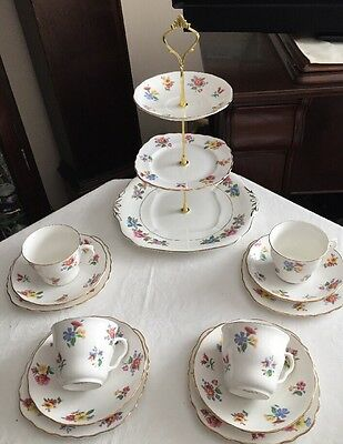 Pretty Vintage Royal Vale  China Tea Set & Mismatched Cake Stand New Price