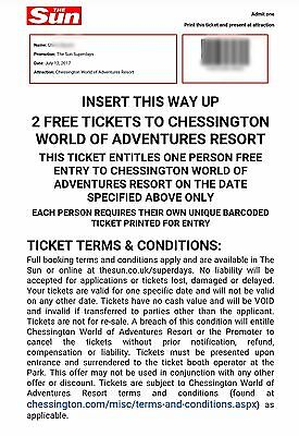 2x Chessington World of Adventures Entry Tickets