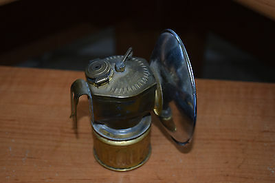Old  Antique Vintage Coal Miners Brass Carbide Head Lamp Justrite Usa