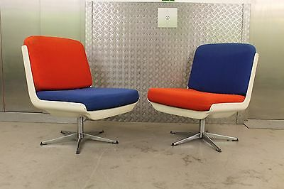 2 PAIR OF VINTAGE WHITE SWIVEL CHAIRS RETRO SPACE AGE 50s 60s 70s MID CENTURY