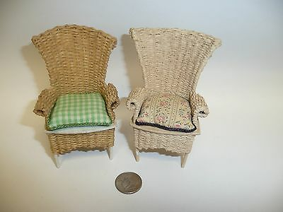 Miniature Dollhouse 1:12 Scale Artisan Made Wicker Chairs Marked CK 1983