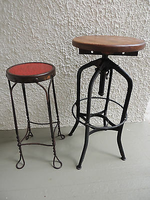 Unique Size Antique Twisted Iron Ice Cream Parlor Stool  Fern, Plant Stand