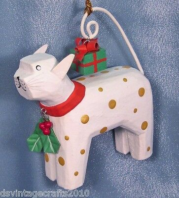 Wooden Cat with a Gift Christmas Ornament New