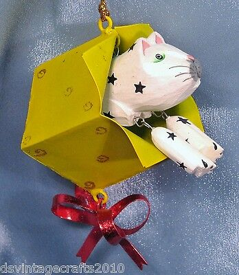 Wooden Cat in a Gift Box Christmas Ornament New