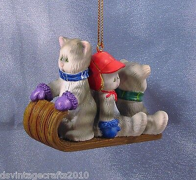 Cats Gray Tabbies Sledding Christmas Ornament New