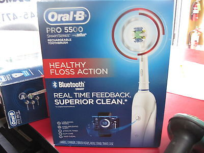 New Oral B Pro 5500 Healthy Floss Action Bluetooth Smart Electric Toothbrush