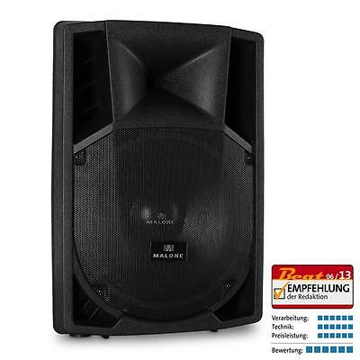 "MALONE 15"" ACTIVE PA SPEAKER 2x MIC AUX 1500W DISCO HOUSE PARTY LOUDSPEAKER"