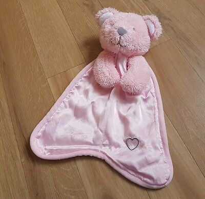 Snuggle Chums Pink Bear Comforter Soother Soft toy Plush Security Blankie grey