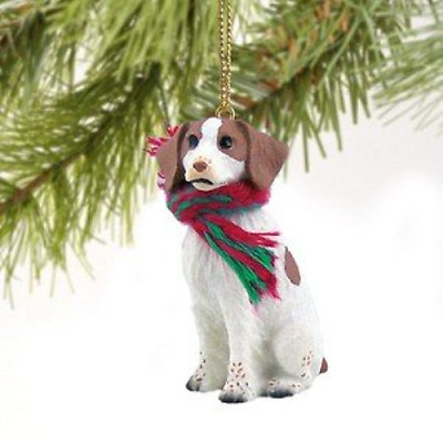 Brittany Spaniel Miniature Dog Ornament - Brown & White
