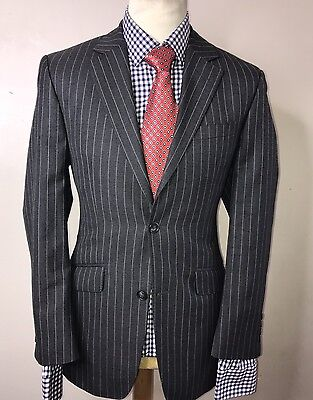 JAEGER LUXURY DESIGNER SUIT CHALK STRIPED CHARCOAL GREY CLASSIC FIT 38x32x32