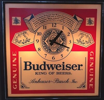 Vintage Budweiser Beer Lighted Clock/Sign In Good Used Condition