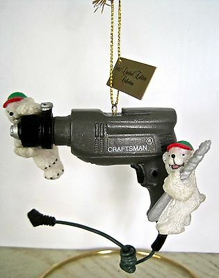 Mr Christmas Craftsman Tools  Drill 1997 Limited Edition Bear Ornament