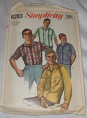 NICE VNTG 1960s MENs Shirt Sewing Pattern ~ Neck 15 1/2 Chest 40 cut