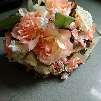 Beautiful bridal/bridesmaid  bouquet with peach and cream artificial flowers