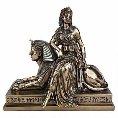 "Ancient Egyptian Quin Cleopatra Astride on the Great Sphinx 15.5"" Statue"