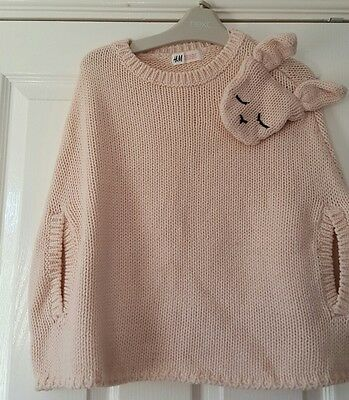 H&M Pale Pink Knitted Bunny Poncho Girls age 6-8