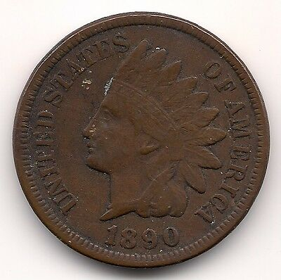 "1890 Us.usa,america,american ""indian Head"" One, 1 Cent Coin"