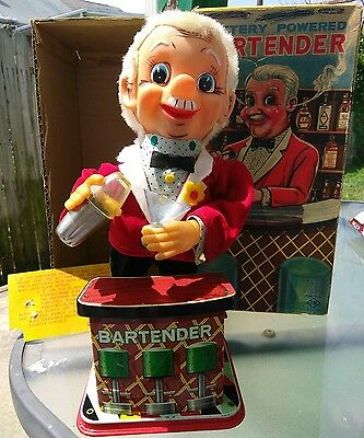 Rosko Battery Powered Bartender Vintage Toy 0350 Japan Toy w/ Box  WORKS!!!