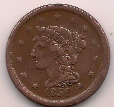 1856 US Large One Cent Coin ,USA,America,American - Braided Hair Upright