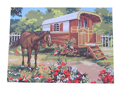 Canvas Tapestry Needlepoint Printed Gobelin Embroidery Horse Cheval 929.518 New