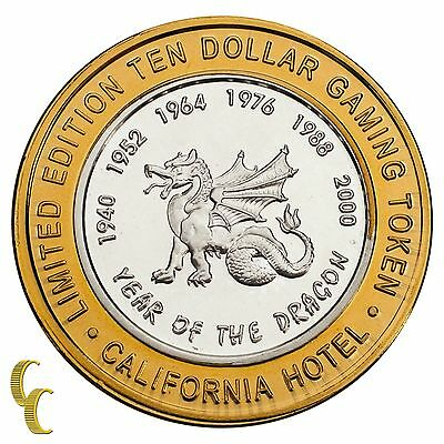 Sam Boyd's California Hotel $10 Gaming Token Year of the Dragon .999 Silver