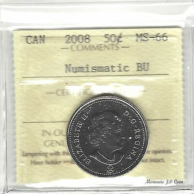 2008 Canada 50 Cent Coin Certified By ICCS Numismatic BU MS-66 ( Xlf658)