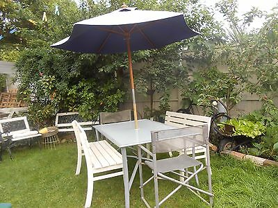 garden table with 2 benches and chairs[umbrella]