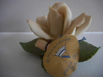"""VINTAGE CAPODIMONTE PORCELAIN ROSE ABT 2.5"""" x 3"""" ITALY WITH TAG AND LABEL"""