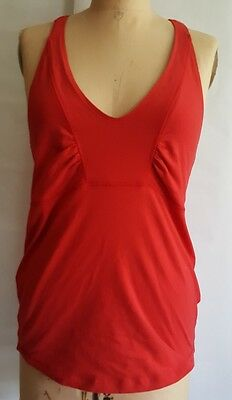 Lululemon yoga run athletic  red ruched T race back tank top shirt bra 8